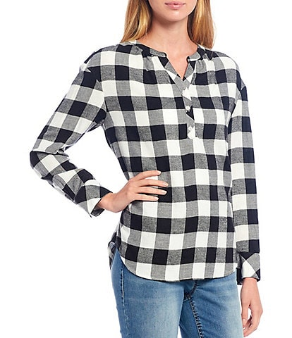 Westbound Petite Size Black Buffalo Check Print Y-Neck Popover Cotton Blend Shirt