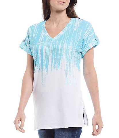 Westbound Petite Size Blue Drip Dye Short Sleeve Button Detail V-Neck Top