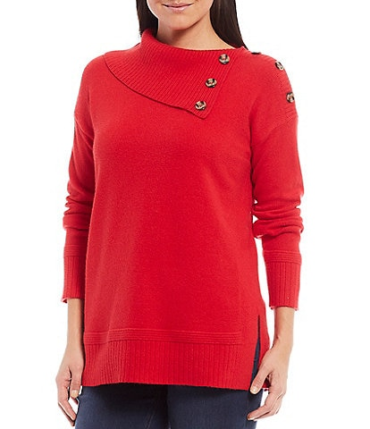 Westbound Petite Size Button Split Neck Sweater