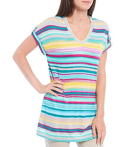 Westbound Petite Size Chasing Stripe Short Sleeve Button Detail V-Neck Top