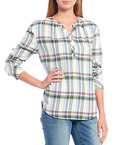 Westbound Petite Size Chevron Plaid Y-Neck Popover Cotton Blend Shirt