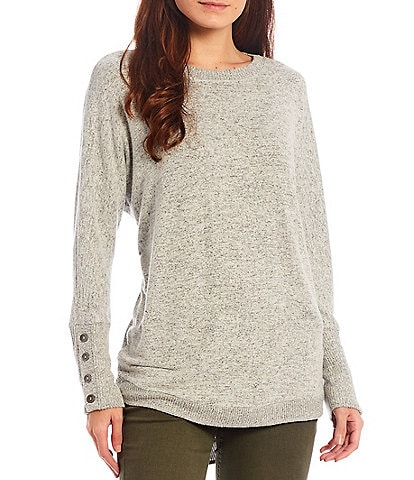 Westbound Petite Size Crew Neck Long Dolman Sleeve Button Cuff Top