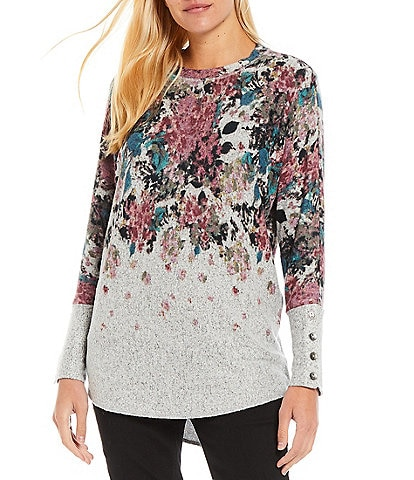 Westbound Petite Size Floral Placement Long Dolman Sleeve Button Cuff Crew Neck Top