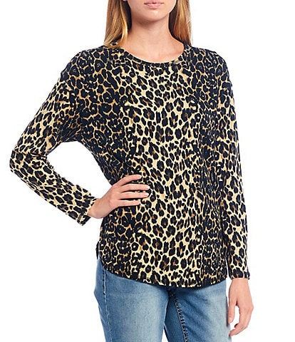 Westbound Petite Size Linear Leopard Print Long Sleeve Crew Neck Tee