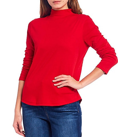 Westbound Petite Size Long Sleeve Mock Neck Top
