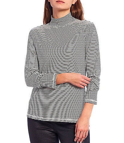 Westbound Petite Size Mini Striped Print Long Sleeve Mock Neck Top