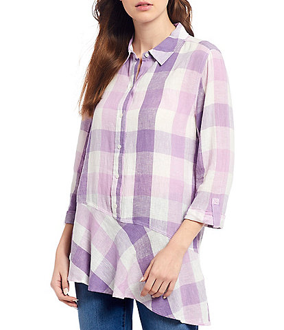Westbound Petite Size Plaid Roll Sleeve Asymmetric Popover Tunic