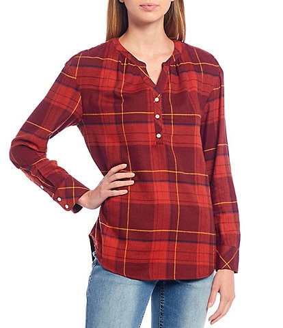 Westbound Petite Size Red Plaid Print Y-Neck Popover Cotton Blend Shirt