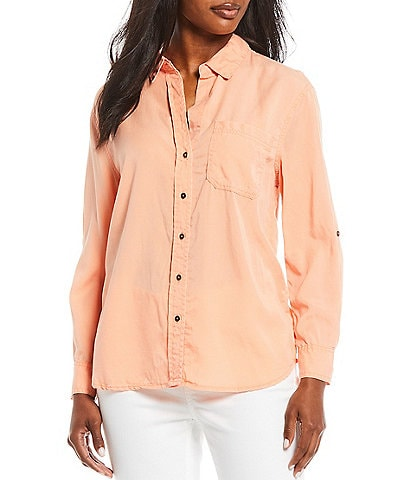 Westbound Petite Size Roll Sleeve Button Front One Front Pocket Shirt