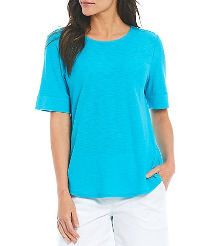 Westbound Petite Size Short Sleeve Crew Neck Cotton Blend Tee