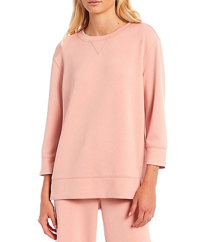 Westbound Petite Size Soft Touch Crew Neck 3/4 Sleeve Coordinating Pullover