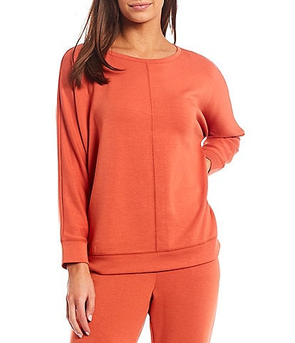 Westbound Petite Size Soft Touch Exposed Stitch Round Neck Long Sleeve Coordinating Pullover