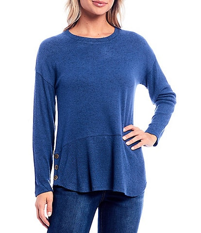 Westbound Petite Size Solid Long Sleeve Button Hem Top