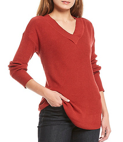 Westbound Petite Size Solid V-Neck Long Sleeve Waffle Stitch Sweater