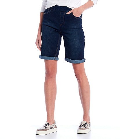 Westbound Petite Size the High Rise Fit Denim Pull-On Bermuda Shorts