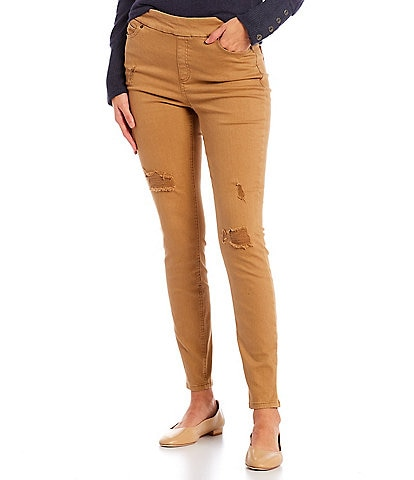 Westbound Petite Size the HIGH RISE fit Skinny Distressed Pull-On Pants