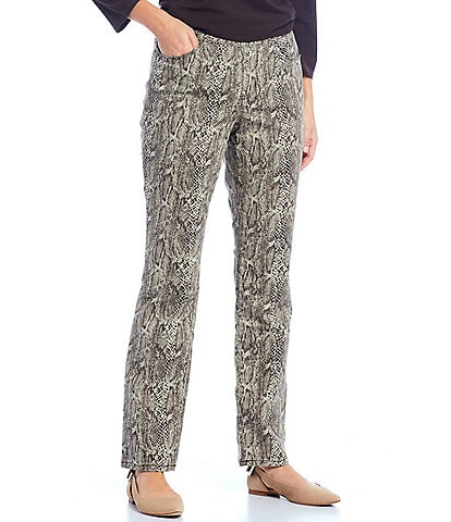 Westbound Petite Size the PARK AVE fit Brown Python Snake Print Mid Rise Straight Leg Pull-On Pant