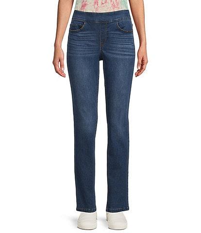Westbound Petite Size the PARK AVE fit Denim Mid Rise Straight Leg Pants