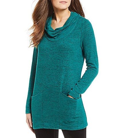 Westbound Petite Size Two Pocket Cowl Neck Tunic