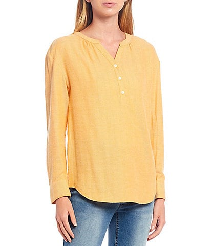 Westbound Petite Size Y-Neck Popover Cotton Blend Shirt