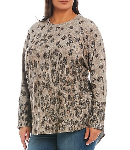 Westbound Plus Animal Print Long Button Cuff Sleeve Shirttail Knit Top