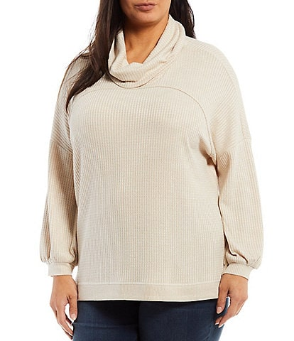 Westbound Plus Size Funnel Neck Drop Long Puff Sleeve Side Slit Top