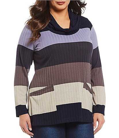 Westbound Plus Size 2-Pocket Color Block Cowl Neck Tunic