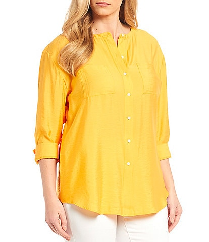 Westbound Plus Size 3/4 Sleeve Button Front Tunic