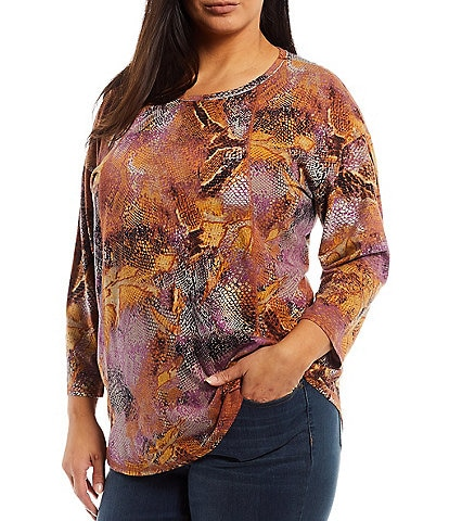 Westbound Plus Size 3/4 Sleeve Round Neck Seamed Shifting Snake Tee