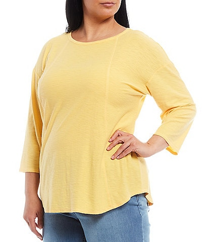 Westbound Plus Size 3/4 Sleeve Seam Solid Cotton Blend Tee