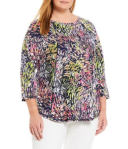 Westbound Plus Size 3/4 Sleeve Seamed Sherbet Swirl Tee