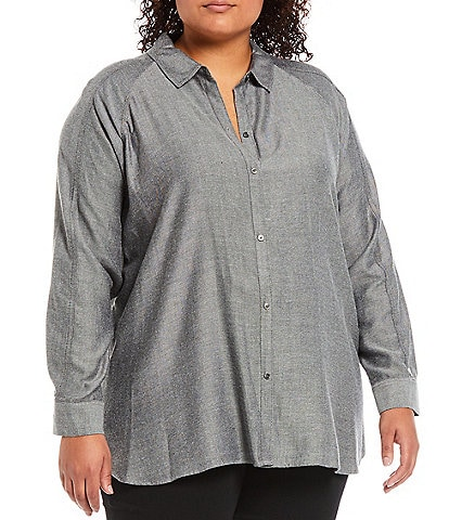 Westbound Plus Size Button-Front Point Collar Long Sleeve Dolman Shirt