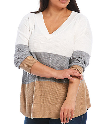 Westbound Plus Size Color Block V-Neck Waffle Stitch Sweater