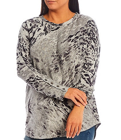 Westbound Plus Size Crew Neck Ombre Animal Long Sleeve Button Cuff Top