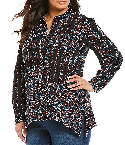 Westbound Plus Size Floral Print Button Front Sharkbite Hem Tunic Shirt