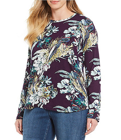 Westbound Plus Size Floral Print Long Sleeve Crew Tee
