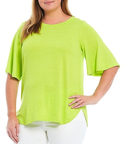 Westbound Plus Size Flounce Sleeve Crew Neck Top