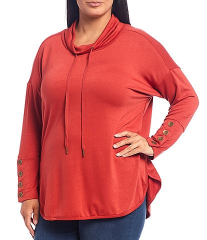 Westbound Plus Size Funnel Neck Button Cuff Knit Tunic Top