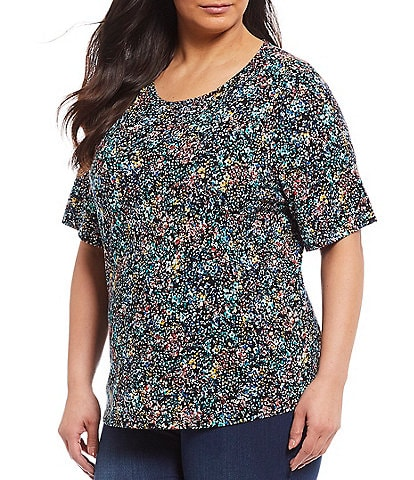 Westbound Plus Size Garden Layers Short Sleeve Crew Neck Tee