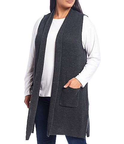 Westbound Plus Size Heathered Two Pocket Long Vest