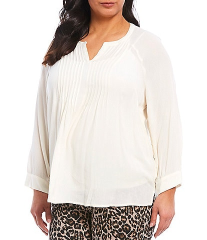 Westbound Plus Size Long Sleeve Pintuck Popover Top