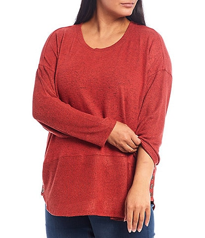 Westbound Plus Size Scoop Neck Long Sleeve Button Hem Tunic
