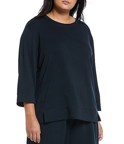 Westbound Plus Size Soft Touch Round Neck 3/4 Sleeve Pullover