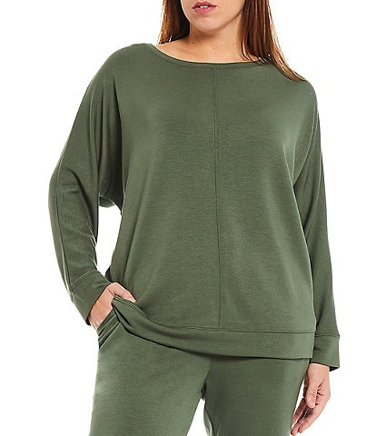 Westbound Plus Size Soft Touch Round Neck Coordinating Long Sleeve Pullover