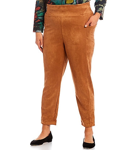 Westbound Plus Size the ESSENTIAL Faux Suede High Rise Wide Waistband Straight Leg Leggings