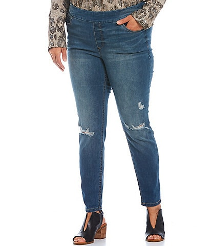 Westbound Plus Size the HIGH RISE fit Skinny Distressed Pull-On Pants