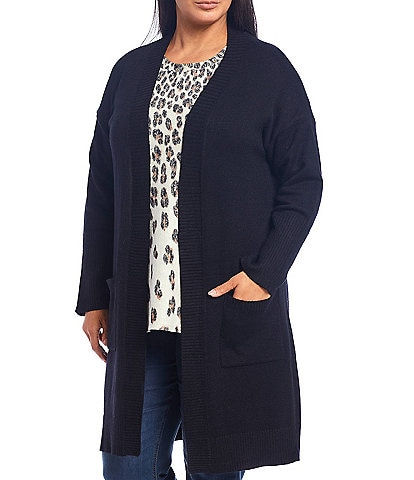 Westbound Plus Size Two Pocket Long Sleeve Open Front Cardigan