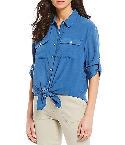 Westbound Roll-Tab Sleeve Tie Front Shirt