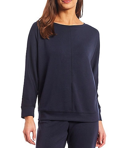 Westbound Soft Touch Coordinating Long Sleeve Round Neck Banded Hem Pullover