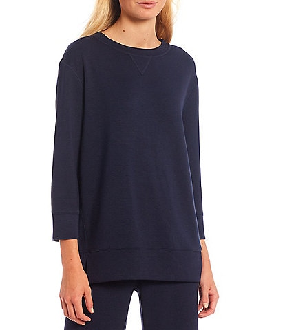 Westbound Soft Touch Crew Neck 3/4 Sleeve Coordinating Pullover